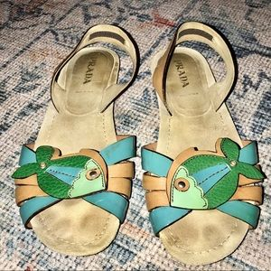 PRADA WHIMSICAL BOHO LEATHER FISH SANDALS 37.5